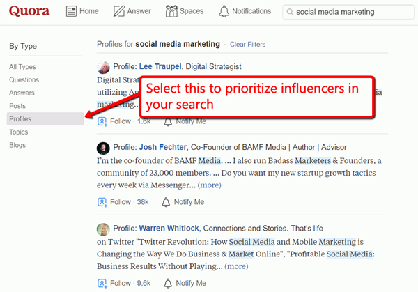 quora profiles tips to find b2b influencers