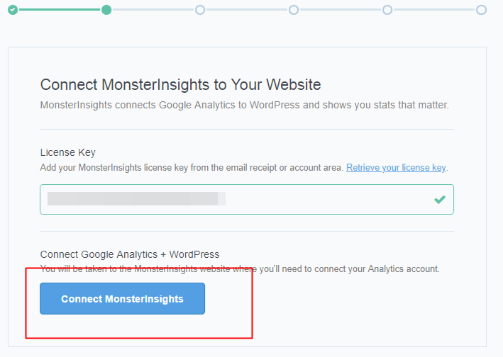 MonsterInsights connect with google analytics