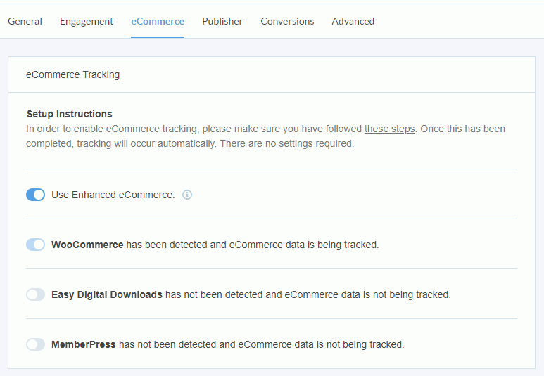 monsterinsights Ecommerce enhanced tracking