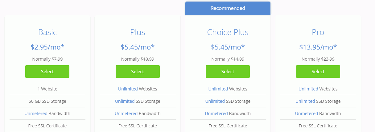 Bluehost Shared Web Hosting Plans